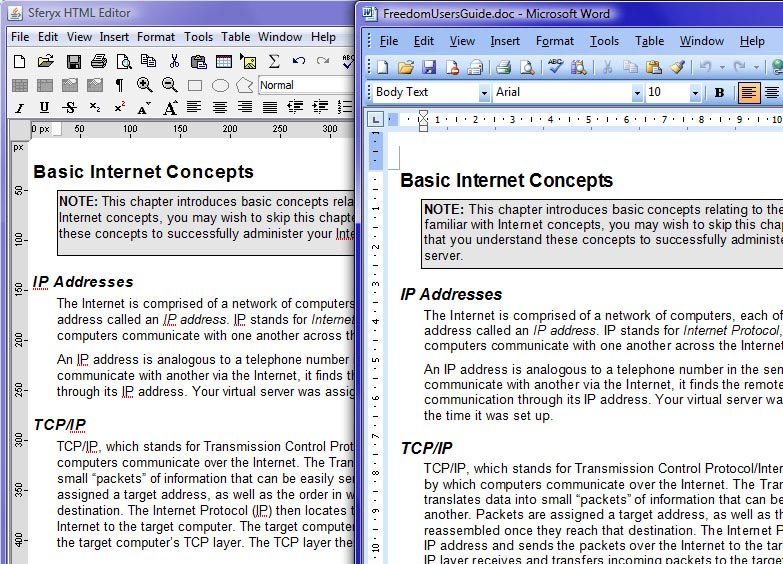 Copy & Paste operation from Microsoft Word into the HTML Editor