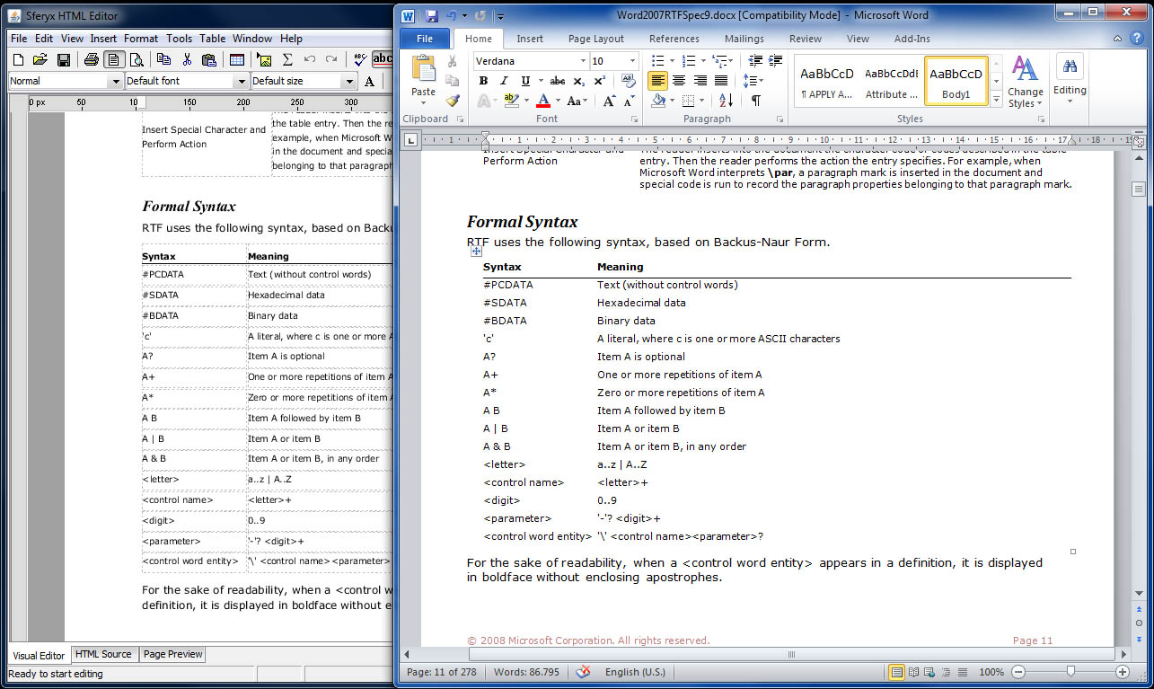 MS Word docx file import Java HTML Editor