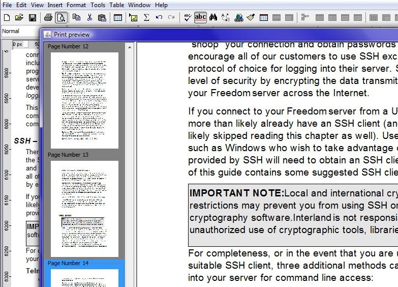 Java WYSIWYG editor print preview